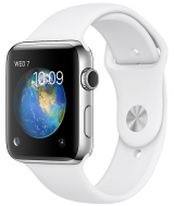 Apple Watch Series 2 42mm ze stali nierdzewnej z paskiem sportowym w kolorze białym
