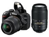 Nikon D3200 czarny + ob. 18-55 VRII + 55-300 VR