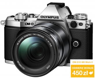 Olympus OM-D E-M5 Mark II + ob. 14-150 II srebrny + grip HLD-8 + bateria BLN-1