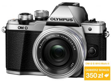 Olympus OM-D E-M10 Mark II + ob. 14-42 EZ srebrny + ob. 40-150 czarny