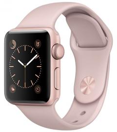 Apple Watch Series 2 38mm aluminium w kolorze różowego złota z paskiem sportowym w kolorze piaskowego różu