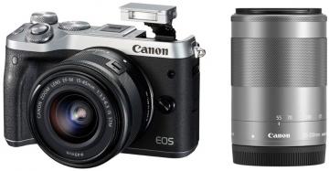 Canon EOS M6 + ob. 15-45 IS STM + ob. 55-200 IS STM srebrny