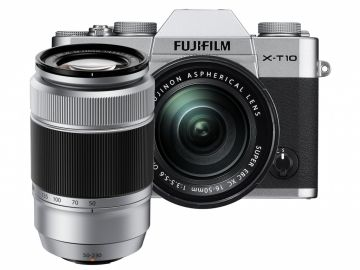 FujiFilm X-T10 srebrny + ob. 16-50 mm + 50-230 mm + karta Sandisk 16 GB 80MB/s GRATIS