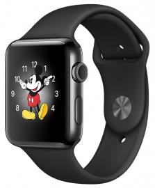 Apple Watch Series 2 38mm ze stali nierdzewnej w kolorze gwiezdnej czerni z paskiem sportowym w kolorze czarnym