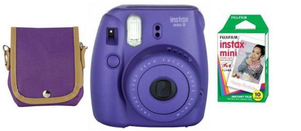 FujiFilm Instax Mini 8S fioletowy + papier Mini Glossy 10/PK + pokrowiec
