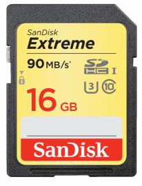 Sandisk SDHC 16 GB EXTREME 90MB/s C10 UHS-I U3