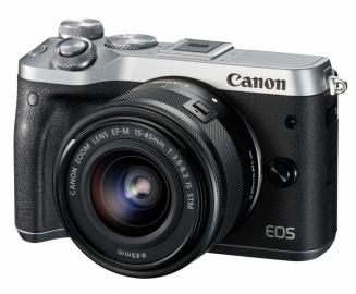 Canon EOS M6 srebrny + ob. 15-45 IS STM czarny