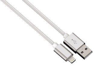 Hama kabel color line, lightning aluminium, 1m biały
