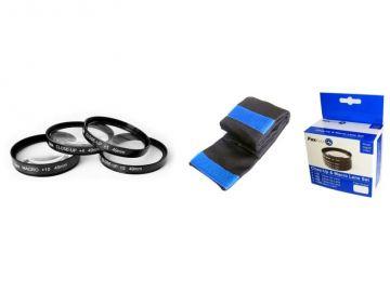 FoxFoto Zestaw soczewek makro +1, +2, +4, +10 dioptrii 49mm