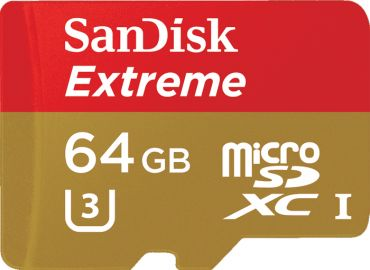 Sandisk microSDXC 64GB Extreme 90MB/s U3 UHS-I + SD Adapter + Rescue Pro Deluxe