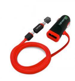 fujipower Ładowarka samochodowa USB 2.4A z kablem Micro/Lightning (czerwony)