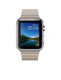 Apple Watch 42 mm ze stali nierdzewnej z paskiem skórzanym w kolorze piaskowca (L)