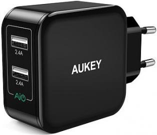 Aukey PA-U38 Black Ładowarka sieciowa 24W 4.8A 2xUSB AiPower