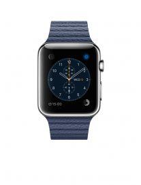 Apple Watch 42 mm ze stali nierdzewnej z paskiem skórzanym w kolorze nocnego błękitu (L)