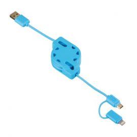 Hama Kabel 2w1 zwijany micro usb oraz lightining niebieski