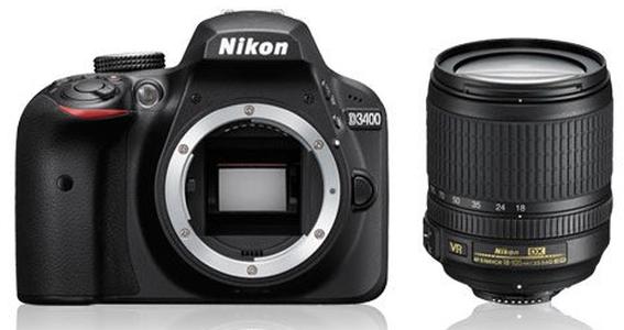 Lustrzanka Nikon D3400 + ob. 18-105 AF-S DX