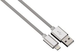 Hama kabel color line, lightning aluminium, 1m srebrny