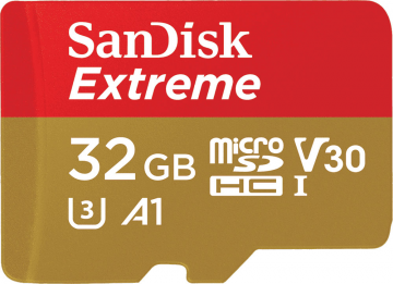 Sandisk microSDHC 32 GB EXTREME 100MB/s A1 C10 V30 UHS-I U3 + adapter SD + Rescue Pro Deluxe