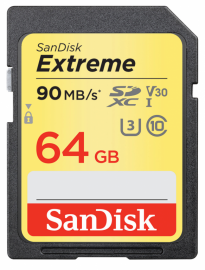 Sandisk SDXC 64 GB EXTREME 90MB/s Video Speed Class V30 U3 UHS-I