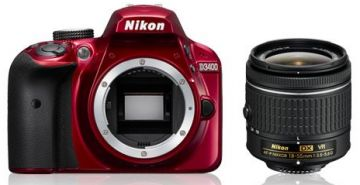 Nikon D3400 + ob. 18-55mm f/3.5-5.6G VR czerwony - Cashback 215zł