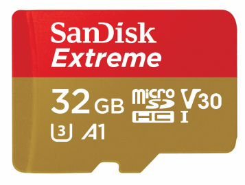 Sandisk microSDHC 32 GB EXTREME 100MB/s A1 C10 V30 UHS-I U3 + adapter SD (doskonała do kamer sportowych)