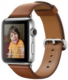 Apple Watch Series 2 38mm ze stali nierdzewnej z paskiem w kolorze naturalnego brązu z klamrą klasyczną