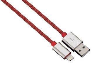 Hama kabel color line, lightning aluminium, 1m czerwony