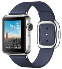 Apple Watch Series 2 38mm ze stali nierdzewnej z paskiem w kolorze nocnego błękitu z klamrą nowoczesną (L)