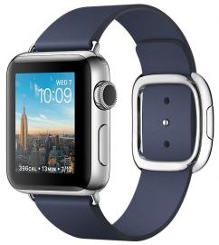 Apple Watch Series 2 38mm ze stali nierdzewnej z paskiem w kolorze nocnego błękitu z klamrą nowoczesną (M)