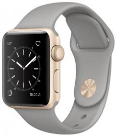 Apple Watch Series 2 38mm aluminium w kolorze złotym z paskiem sportowym w kolorze surowej szarości