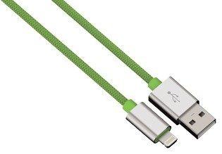 Hama kabel color line, lightning aluminium, 1m zielony