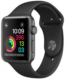 Apple Watch Series 2 38mm aluminium w kolorze gwiezdnej szarości z paskiem sportowym w kolorze czarnym